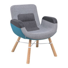LeisureMod   LeisureMod Milwood Color Block Accent Chair With Wood Dowel  Legs   Armchairs And Accent