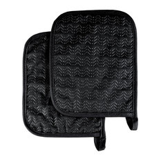 Pot Holder Set With Silicone Grip, Quilted And Heat Resistant, Black