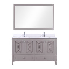 Legion Furniture Legion Furniture Double Vanity With Mirror Set Warm Gray 60-inch
