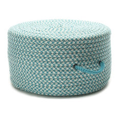 """Houndstooth Pouf Rug, Turquoise 20""""x20""""x11"""""""