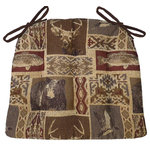 Barnett Home Decor - Wilderness Mountain View Dining Chair Pads, Latex Foam Fill, Standard - Wilderness Mountainview dining chair pads feature a tapestry of bears, deer, ducks, fish and traditional blanket patterns -perfect for your log cabin or any room with a rustic decor!