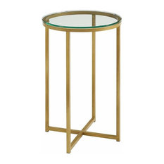 Modern Round Side Table With Metal Frame and Tempered Glass Top
