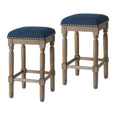 "Madison Park Cirque 26"" Backless Upholstered Counter Bar Stools, Set of 2, Slate"
