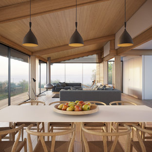 Inspiration for a large coastal open plan dining room in Cardiff with white walls, dark hardwood flooring and a hanging fireplace.