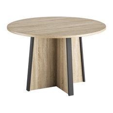 Mambo Round Particleboard Dining Table, Sonoma Light Oak Finish
