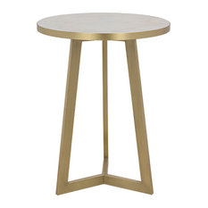 Loriot Side Table Antique Brass Metal And White Stone
