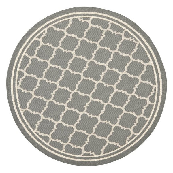 Round Area Rug, Beige and Anthracite