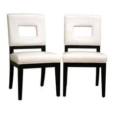 Wholesale Interiors   Faustino White Leather Dining Chairs, Set Of 2   Dining  Chairs Part 35