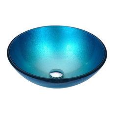 ANZZI Posh Series Deco-Glass Vessel Sink, Silver Blue