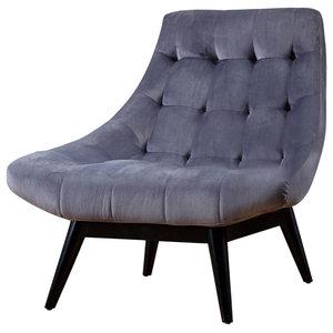 Living Karl Matte Velvet Accent Chair, Dark Legs