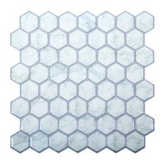 """Hexagon Peel & Stick Wall Tiles, 10x10"""", Light Blue, 6 Pieces"""