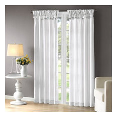 Madison Park Twist Tab Lined Window Curtain With White Finish WIN40-115