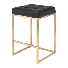 Chi Stool, Seat: Black, Frame: Brushed Gold, Counter Height