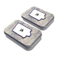 Iowa IA State Outline Tin Set