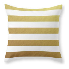 """Gold Stripes Throw Pillow Cover, 16""""x16"""" With Pillow Insert"""