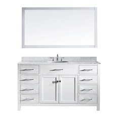 "Virtu Caroline 60"" Single Bathroom Vanity, White With Marble Top, With Mirror"