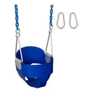 High-Back Full Bucket Swing Seat With Coated Chain, Blue, 5.5'