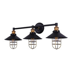 Marazzo 3-Light Wall Sconce, Antique Brass With Black