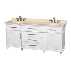 "Wyndham Collection - Berkeley 72"" Double Vanity, White, Ivory Marble, Undermount Round - Bathroom Vanities and Sink Consoles"