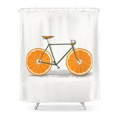 Zest, Orange Wheels, Shower Curtain