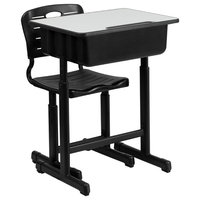 MFO Adjustable Height Student Desk and Chair with Black Pedestal Frame