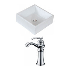 Square Transitional Vessel Sink in White with Deck Mount Faucet
