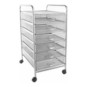 Modern Drawer Cart in Steel Wiremesh with 6 Drawers and 4 Castor Wheels