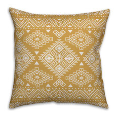 Mustard Tribal 18x18 Throw Pillow