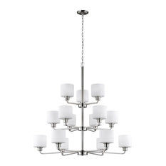 Canfield 60W 15-Light 3-Tier Chandelier, Brushed Nickel, Etched/White Glass