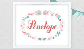 Girl Floral Wreath Nursery Name Art 11x14