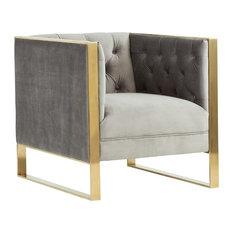 Divani Casa Carlos Modern Gray Velvet and Gold Accent Chair