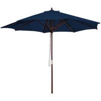 9' Wood Frame Patio Umbrella and Royal Blue Canopy