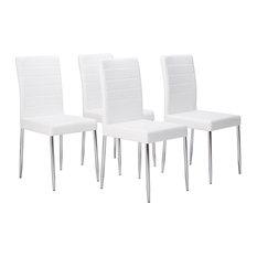 Vestavia Dining Parsons Chairs, White Vinyl & Chrome Metal Legs