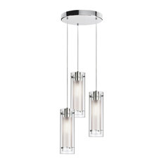 Bronson 3-Light Round Pendant, Polished Chrome With Clear and Frosted Glass