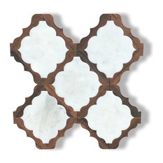 Carrara Marble And Dark Wood Waterjet Cut Tile, Design 30
