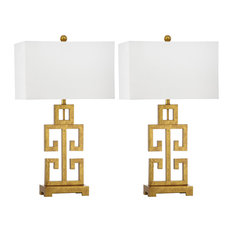 "Greek Key Table Lamps, 29"", Set of 2"