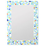 """Modern Mosaic Bathroom Mirror in Stained Glass Tiles, 16x20"""" - This beautiful mosaic tile mirror features a modern mix of sea green, iridescent blue, iridescent white and yellow with pops of orange and navy blue stained glass tile. All of the tiles have natural variations in their hues throughout, giving an even great depth of color."""