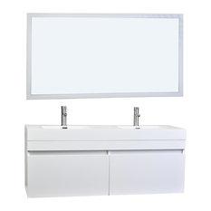 "57"" Modern Double Sink Vanity Mirror Set, Glossy White"