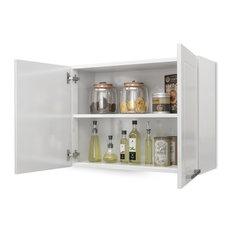 "Steel Kitchen Cabinet, Wall 2 Doors, 32""W x 24""H, White"