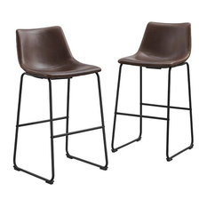 Two-Tone Brown Industrial Bar Stools Chairs With Metal Base, Set of 2