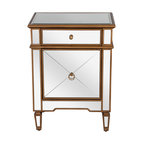 worlds away claudette mirrored night stand edged in gold