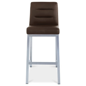 Lynx Counter Height Contemporary Stool With Metal Base, Brown