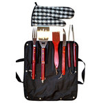 """Campfire 360 - BBQ Tools - The BBQ Tools area heavy with hardwood handles & near 20"""" long. The tools consist of Spatula, Fork, Knife, Tongs, Cleaning Brush, & Glove , all in a handy Carrying Tote"""