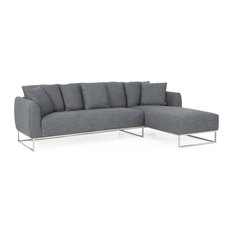Harley Sectional Sofa With Chaise Lounge Charcoal Silver