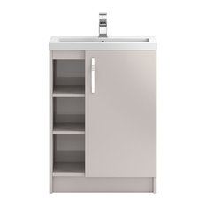 Freestanding Bathroom Vanity Unit and Sink, Gloss Cashmere, 60 cm