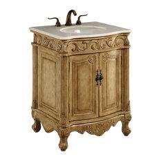 """Elegant Lighting Singature Vanity Cabinet, 2-Door, 27""""x21""""x35"""", Antique Beige"""