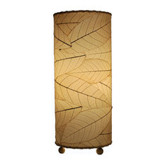 Outdoor Indoor Cocoa Leaf Cylinder Table Lamp, Natural