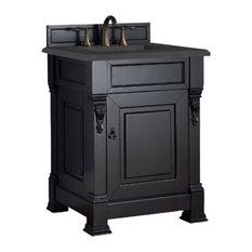 "Brookfield 26"" Single Cabinet, Antique Black, 2cm Black Rustic Stone Top"