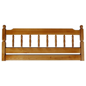 Traditional Headboard, Honey Finished Solid Pine Wood, Colonial Design