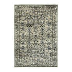 "Linden Beige Navy Oriental Distressed Traditional Rug, 2'3""x7'6"""